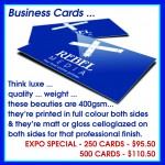 Business cards at Brisbane Small Business Expo prices